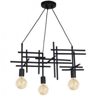 Czarna metalowa lampa z prętów do kuchni