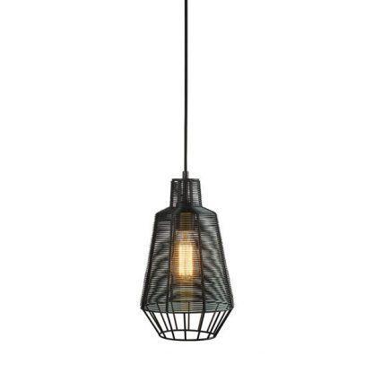 czarna nieduża lampa nowoczesna druciana z żarówką ozdobną
