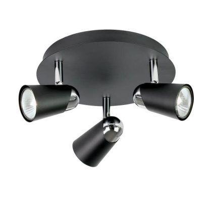 czarna nowoczesna lampa sufitowa z reflektorami