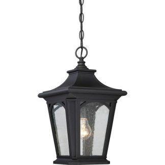 Czarna oprawa lampy ze szklanym kloszem