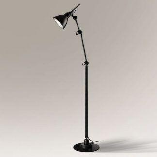 czarna regulowana lampa podłogowa do salonu
