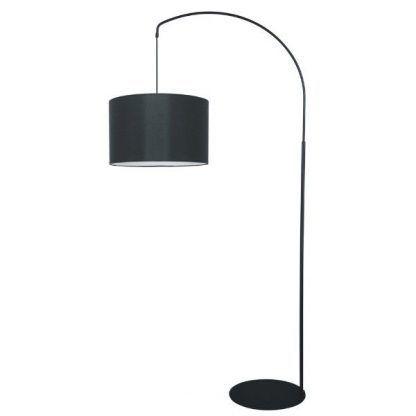 czarna zaokrąglona lampa podłogowa z abażurem