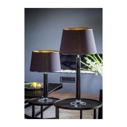 czarne szkło - lampa stołowa z abażurami na stoliku