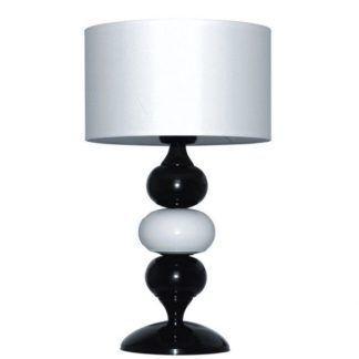 czarno biała lampa z kulkami - okrągły abażur nowoczesny