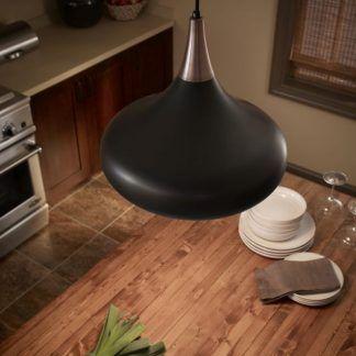 czarno miedziana lampa nad stół do kuchni