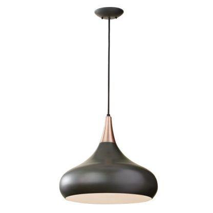 czarno miedziana lampa wisząca do kuchni lub salonu