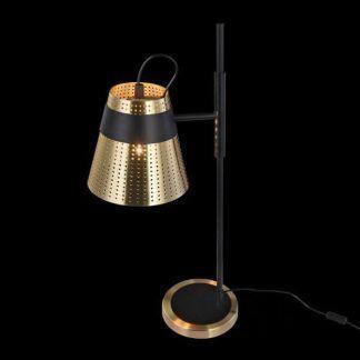 czarno-złota lampa stołowa klosz z perforacją
