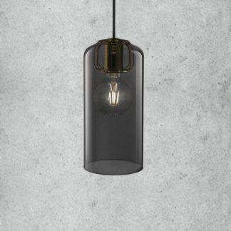 czarno złota lampa wisząca do betonu
