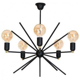 czarno-złota lampa wisząca sputnik do salonu