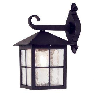 Czarny metalowy kinkiet w kształcie latarni