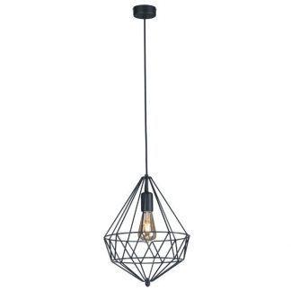 czarny nowoczesny druciak - lampa z żarówką na kablu