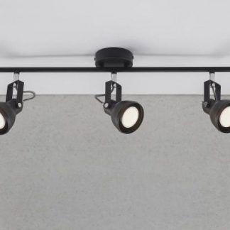 czarny nowoczesny reflektor na szynie - 3 lampy z regulacją