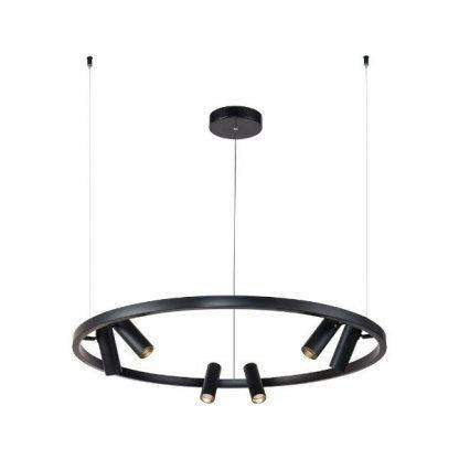 czarny nowoczesny żyrandol nad stół reflektory