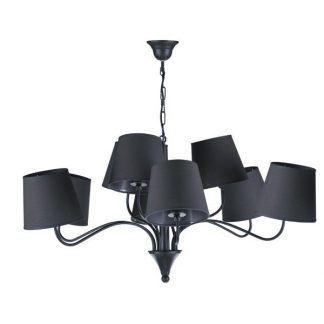 Czarny stylowy żyrandol do salonu z 9 abażurami