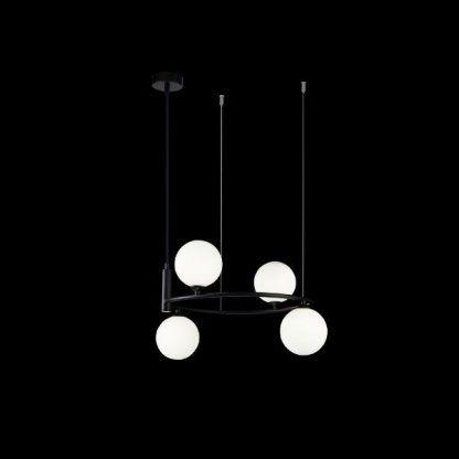 Czarny żyrandol do salonu szklane klosze kule