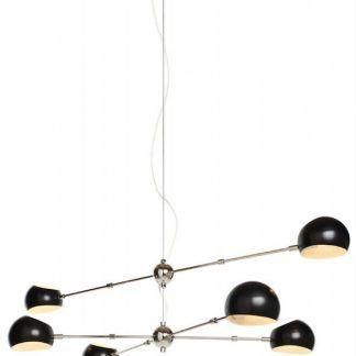 Czarny żyrandol z okrągłymi kloszami do salonu