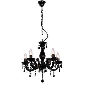 Czarny żyrandol z pięcioma świecznikami do sypialni