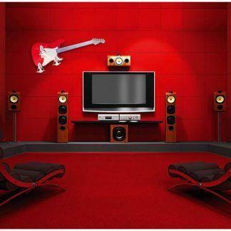 czerwony kinkiet w kształcie gitary