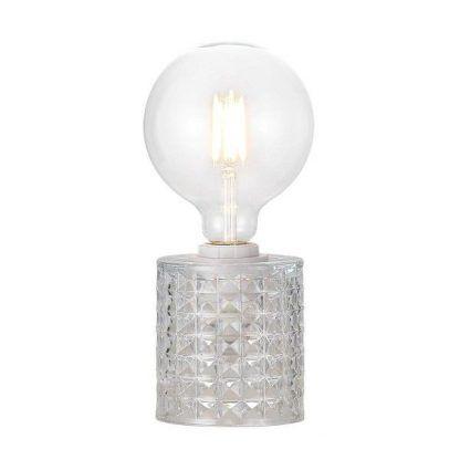 dekoracyjna lampa stojąca z żarówką edisona - styl glamour