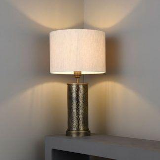 dekoracyjna lampa stołowa z abażurem do salonu