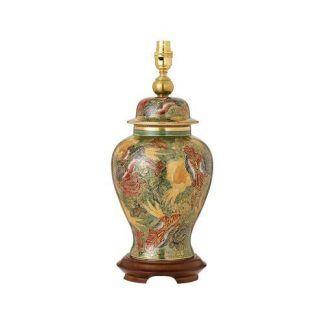dekoracyjna lampa stołowa z porcelany w kwiaty