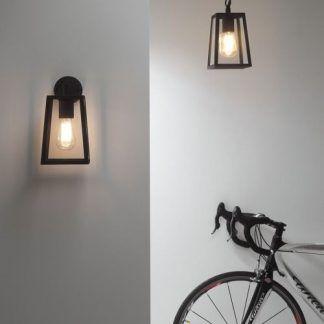 dekoracyjne kinkiety i lampy wiszące stalowe - aranżacja