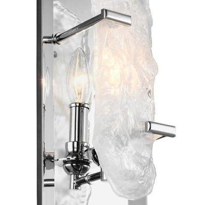 Dekoracyjne światło w srebrnej ramie kinkiet do salonu