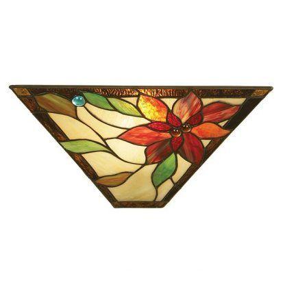 dekoracyjny kinkiet z witrażowym kwiatem ciepły