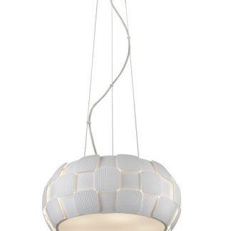 designerska nowoczesna lampa wiszaca w białym kolorze
