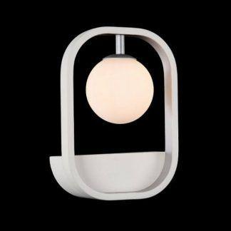 designerski kinkiet biały ze szklaną kulą