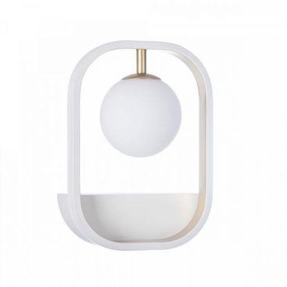 designerski kinkiet na ścianę w salonie - biała kula ze szkła