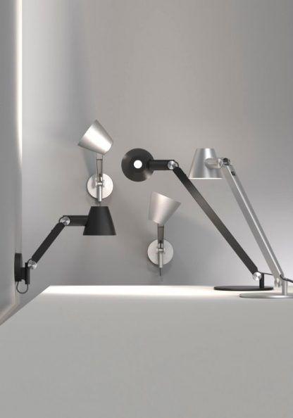 designerskie kinkiety i lampy stołowe - srebrne i czarne
