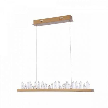 długa lampa wisząc z kryształami oświetlenie stołu
