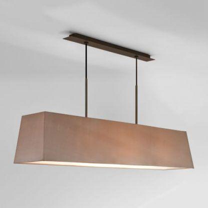 długa lampa wiszaca - szeroki abażur na 2 linkach
