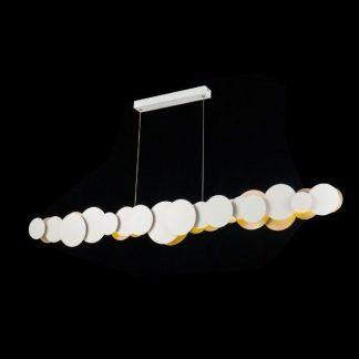 Długa metalowa lampa do salonu biały kolor