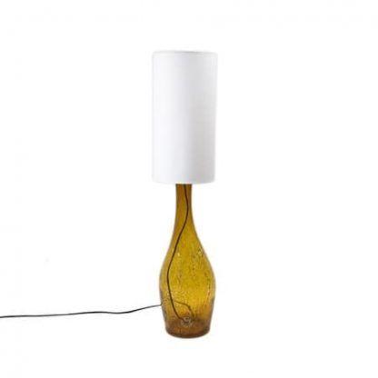 długa waska lampa stołowa bursztynowa ze szkła