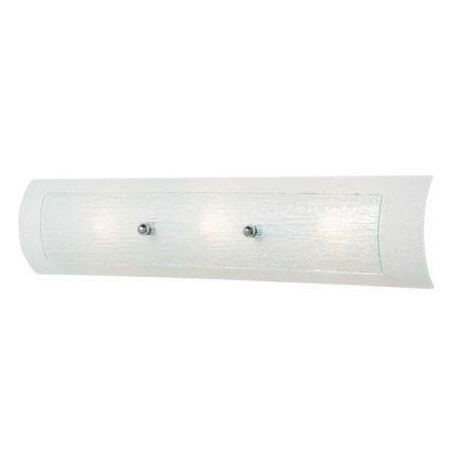 Długi szklany kinkiet łazienkowy w białym kolorze