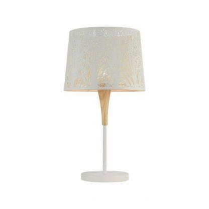 drewniana designerska lampa stojąca z siatkowym kloszem