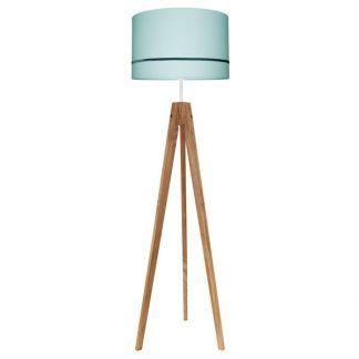 drewniana lampa podłogowa miętowy abażur
