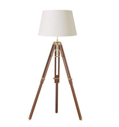 drewniana lampa podłogowa trójnóg z abażurem