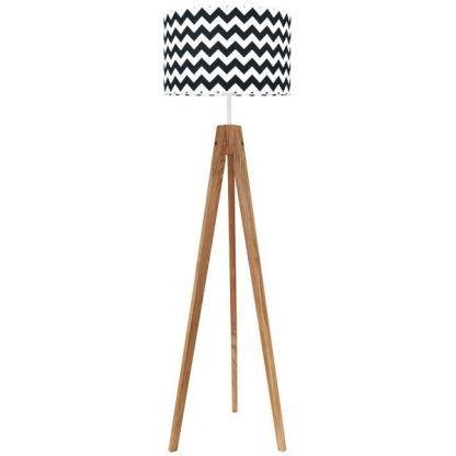 Drewniana lampa trójnóg z abażurem w biało czarne wzory