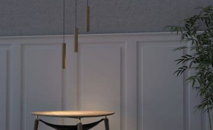 drewniana lampa wisząca aranżacja salon