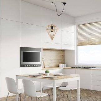 drewniana lampa wisząca diament biała kuchnia
