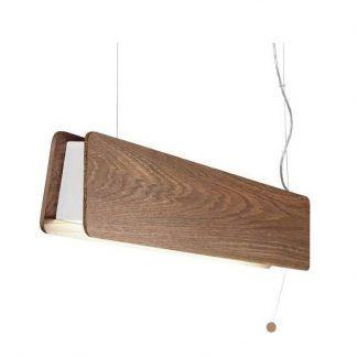 drewniana lampa wisząca do jadalni podłużna
