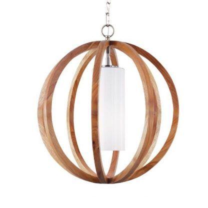 drewniana lampa wisząca - drewniana kula z żarówką