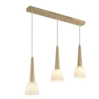 drewniana lampa wisząca nad stół szklane klosze