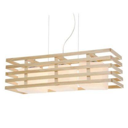 drewniana lampa wisząca z 3 kloszami - szeroka eko