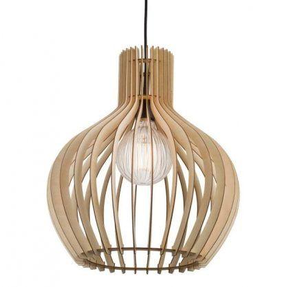 drewniana lampa wisząca z dekoracyjną nowoczesną żarówką