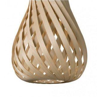 drewniana lampa z trawy i drewna - zwijana tykwa