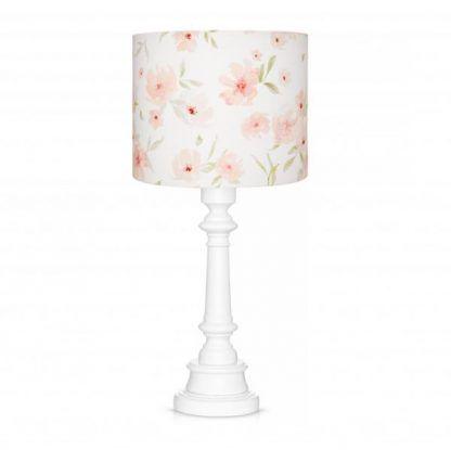 Drewniana podstawa lampy z abażurem w kwiaty